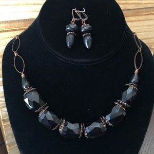 Black Vintage Czech Glass Copper Necklace Set.